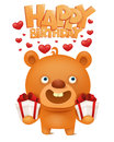 Brown funny emoji teddy bear with gift box. Happy birthday invitation card