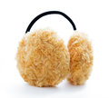 Brown fuzzy ear muffs isolated on white background Royalty Free Stock Photo