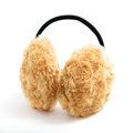 Brown fuzzy earmuffs on white background Royalty Free Stock Photos