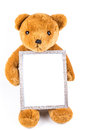 Brown fuzzy teddy bear holding a grey frame Royalty Free Stock Photo