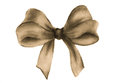 Brown gift bow. Watercolor drawing