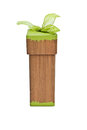 Brown gift box with green ribbon Stock Image