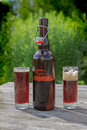 Brown glass bottle and two tall glasses full of frothy dark beer on rustic wooden table in summer garden