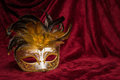Brown golden venetian carnival mask on a draped red velvet theat Royalty Free Stock Photo