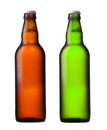 Brown and green beer bottles isolated on white Stock Images