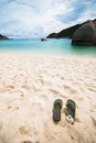 Brown and green flip flop on the beach at nang yuan island Royalty Free Stock Photo