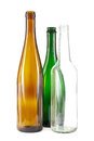 Brown green and white glass bottles group of clear on Royalty Free Stock Photography