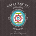 Brown greetings card with easter egg and rounded frame decorative there inscription happy decorative composition suitable Stock Image