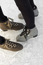 Brown And Grey Ice Skating Boots Royalty Free Stock Image