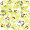 Brown and grey snails on green leaves seamless vec vector pattern of Royalty Free Stock Photo