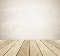 Brown grunge cement wall and perspective vintage wood background Royalty Free Stock Photo