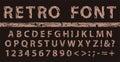 Brown grunge vintage ink font. Old style letters