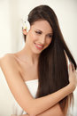 Brown hair beautiful brunette with long hair haircare spa beauty model Royalty Free Stock Photo