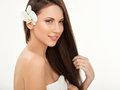 Brown hair beautiful brunette with long hair haircare spa beauty model Royalty Free Stock Image