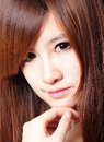 Brown hair beautiful woman charming smile face close up asian beauty Royalty Free Stock Photography