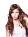 Brown hair fashion beautiful woman hair wind isolated white background asian beauty Stock Photos