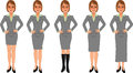 Brown-haired business woman grey skirt suit hands on hips Royalty Free Stock Photo
