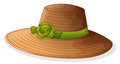 A brown hat with a green ribbon illustration of on white background Stock Image