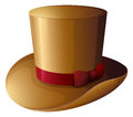 A brown hat with a red ribbon illustration of on white background Royalty Free Stock Image