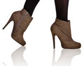 Brown high heel boots closeup Stock Photos