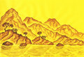 Brown hills on yellow background, painting Stock Photography