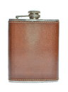 Brown hip flask isolated Royalty Free Stock Photo
