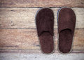 Brown home slippers Royalty Free Stock Photo