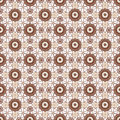 Brown lace floral seamless pattern on white