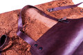 Brown leather apron protectiv red for welder Royalty Free Stock Image
