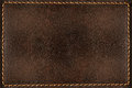 Brown leather background with seams Royalty Free Stock Photo