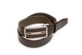 Brown leather belt on white background Royalty Free Stock Photography