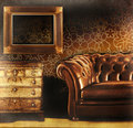 Brown leather couch with empty frame Royalty Free Stock Image