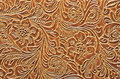 Brown Leather Embossed with a Floral Pattern Royalty Free Stock Photo