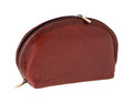 Brown leather makeup bag isolated on white background Royalty Free Stock Photo