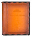 Brown leather photo album cover with decorative frame for text Royalty Free Stock Photo