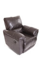 Brown leather recliner closed isolated white background Stock Images