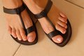 Brown leather sandals Royalty Free Stock Photo