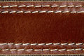 Brown leather with seam background. Royalty Free Stock Photo