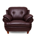 Brown leather sofa isolated on white Stock Images