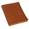 Brown leather spiral notebook isolated on white Stock Images