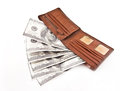 Brown leather wallet with dollars isolated Royalty Free Stock Photo