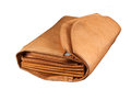 Brown leather wallet isolated over white bacground, clippimg path Royalty Free Stock Photo