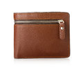 Brown leather wallet isolated on white background Royalty Free Stock Photo