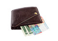 Brown leather wallet with money isolated on white Royalty Free Stock Photo