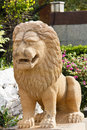 Brown Lion puppet made of stone Royalty Free Stock Photo