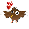 Brown love bird cute cartoon animal Stock Photo