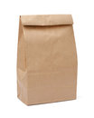 Brown lunch bag with clipping path isolated a on a white background Stock Photo