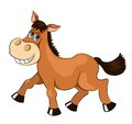 Brown mad horse isolated on white cartoon illustration Stock Images