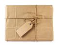 Brown mail delivery package with tag parcel wrap Royalty Free Stock Image