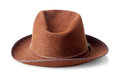 Brown male felt hat isolated on white background Royalty Free Stock Image